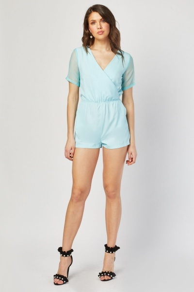 Cut Out Chiffon Contrast Playsuit