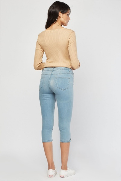 Light Denim Capri Jeans