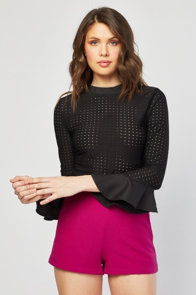 Perforated Flared Sleeve Blouse