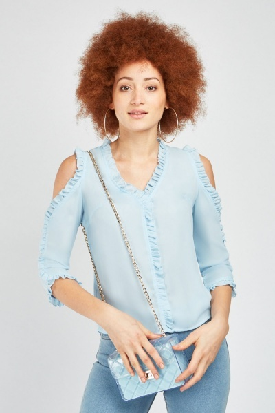 Ruffle Cold Shoulder Chiffon Blouse