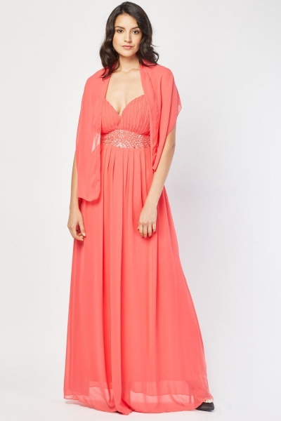 Sequin Embellished Flower Chiffon Maxi Dress