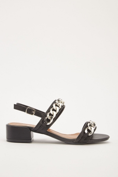 Chain Trim Heel Sandals