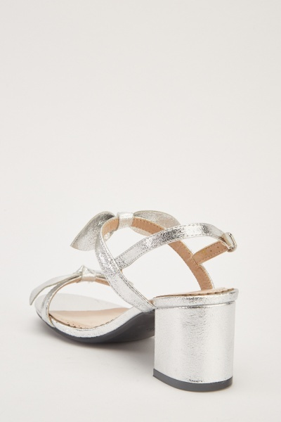 Metallic Bow Trim Sandals