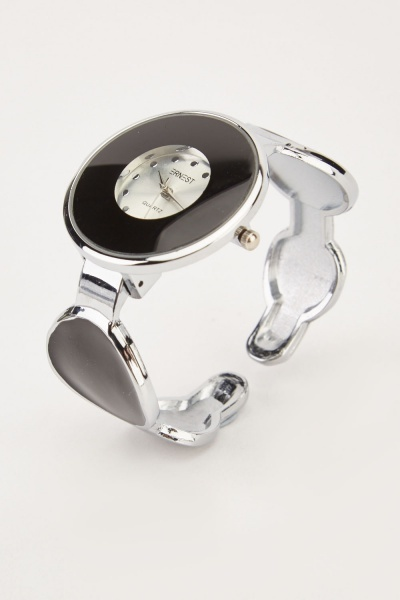 Round Metallic Contrast Bungle Watch