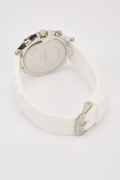 Silicone Strap Encrusted Watch