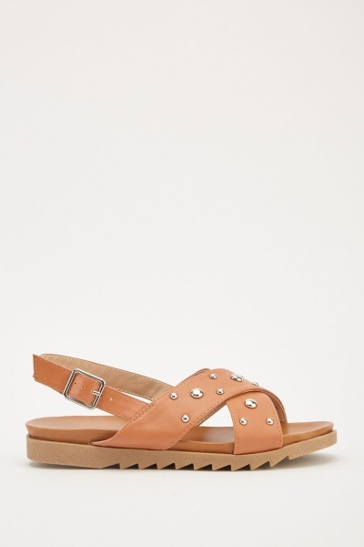 Studded Cross Strap Sandals