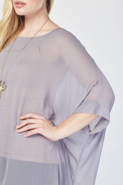 Asymmetric Sheer Chiffon Top