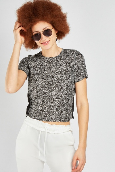 Contrasted Side Sheer Printed Top