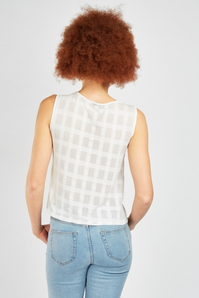 Lace Mesh Contrast Pleated Top