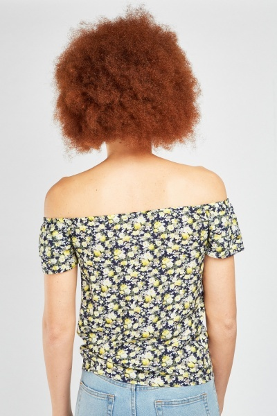 Printed Ruffle Off Shoulder Top