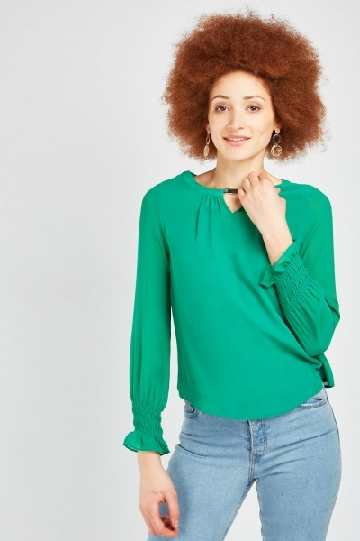 Shirred Sleeve Cuff Chiffon Blouse