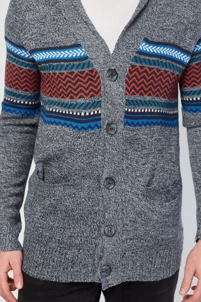 Button Up Aztec Pattern Cardigan