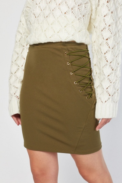 Criss Cross Side Mini Skirt