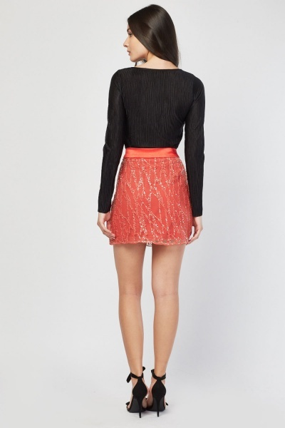 Embroidered Mesh Mini Red Skirt