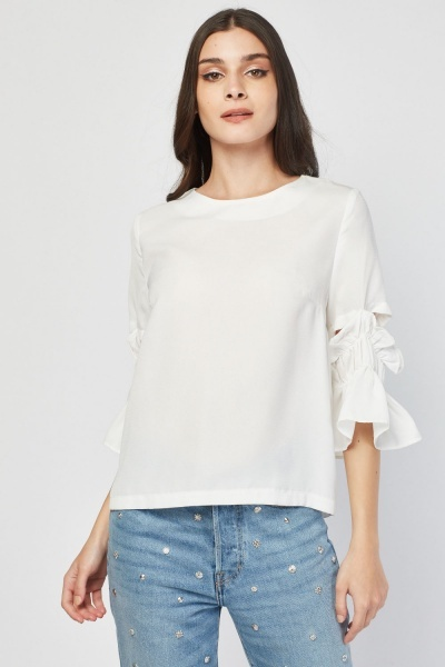Gathered Cut Out Sleeve Blouse