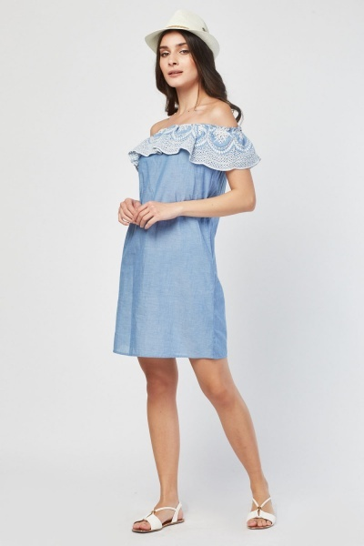 Off Shoulder Broderie Dress