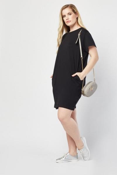 65779bb0f545 Short Sleeve Black T- Shirt Dress - Just £5