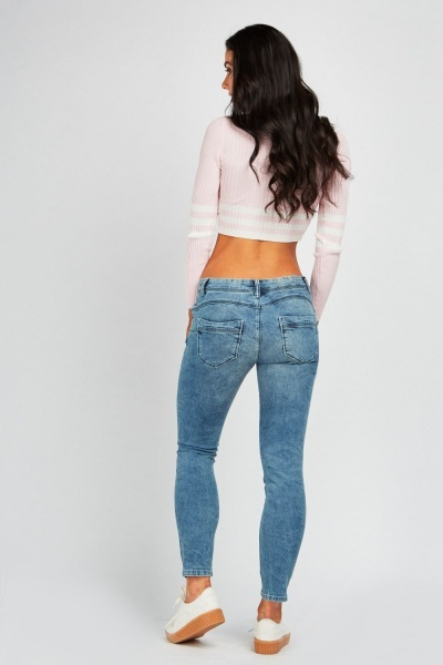 Washed Denim Skinny Push Up Jeans