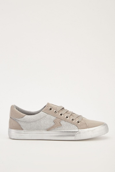 Lace Up Lurex Sneakers