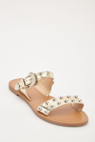 Metallic Studded Buckled Sandals