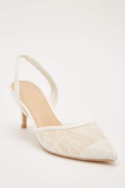 Slingback Lace Court Heels