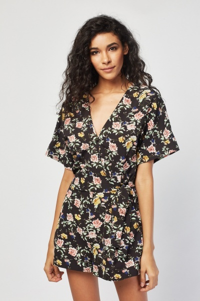 92a13ce1f24 Floral Printed Wrapped Playsuit - Black - Just £5