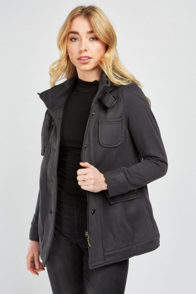 Multi Pockets Front Hooded Jacket