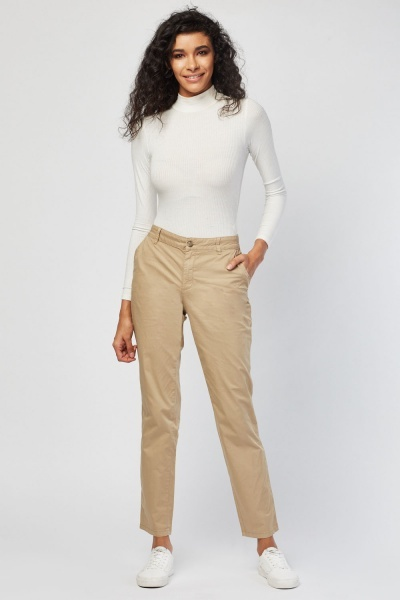 Straight Fit Casual Chino Trousers