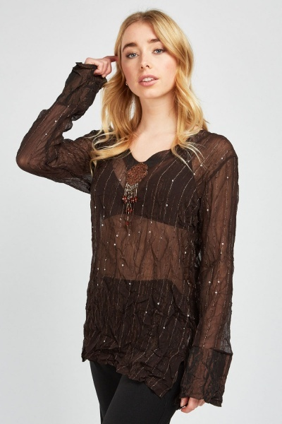 Beaded Front Detail Sequin Top