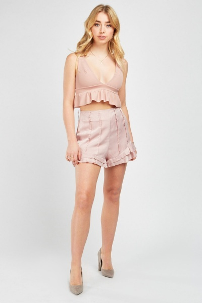 Frilled Hem High Waist Shorts