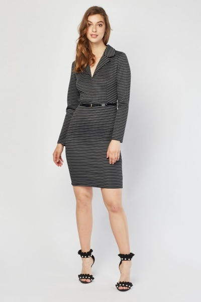 Lapel Front Midi Stripe Dress