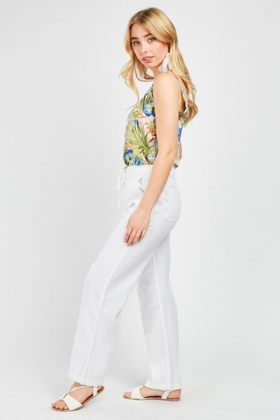 Tie Up Partly Linen Trousers