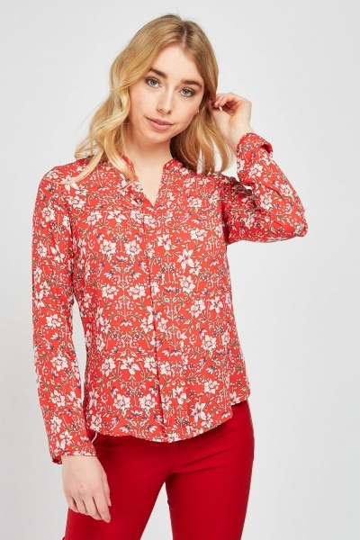 153de12751983 V-Neck Flower Printed Blouse - Red Multi - Just £5