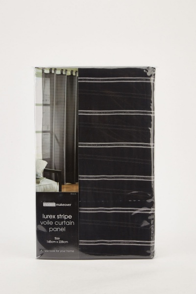 Black Lurex Stripe Voile Curtain Panel