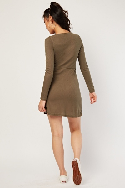 Button Front Mini Rib Dress
