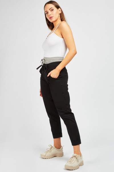 Cut Out Ribbed Waist Trousers