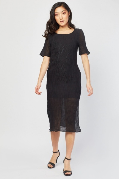 Embroidered Crinkle Sheer Dress