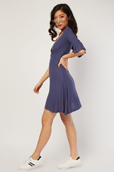 Flared Sleeve Ribbed Wrap Dress
