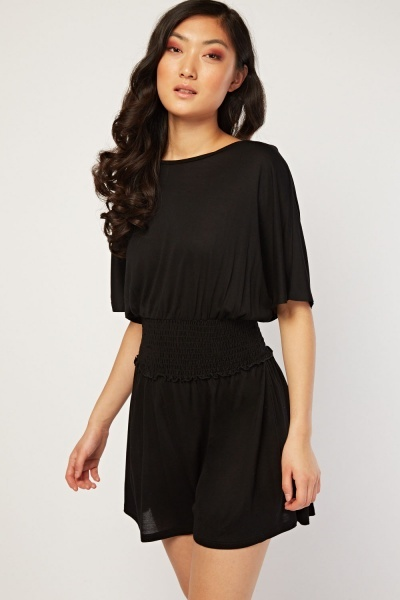 Gathered Batwing Sleeve Playsuit
