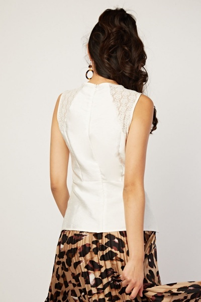 Lace Insert Spiral Cut Top