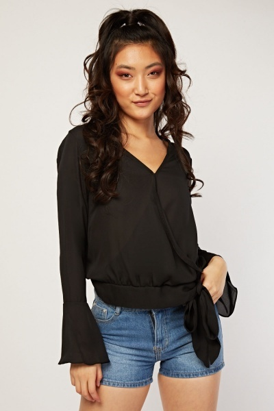 Tie Up Chiffon Wrap Blouse