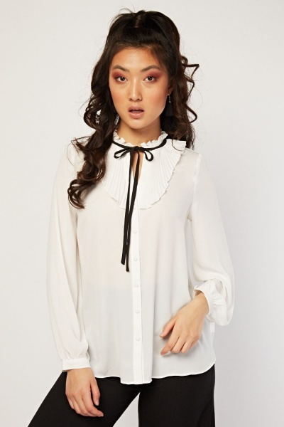 Tie Up Pleated Sheer Blouse