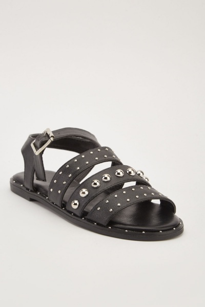 Studded Strappy Flat Sandals