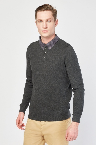 Collar Insert Polo Knit Jumper