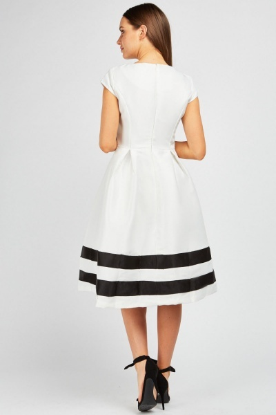 Stripe Hem Midi Skater Dress