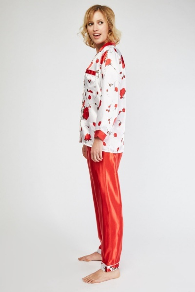 Printed Sateen Pyjama Set