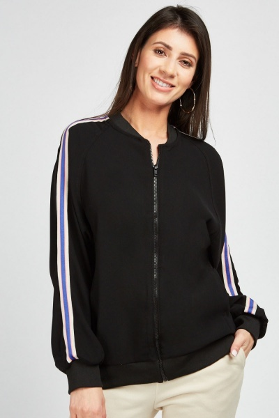 Bomber Jacket With Stripe Side
