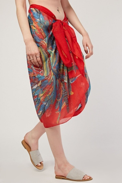 Multi Feather Print Sarong