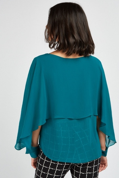Cut Out Chiffon Sleeve Blouse