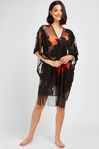 Embroidered Mesh Black Beach Cover Up